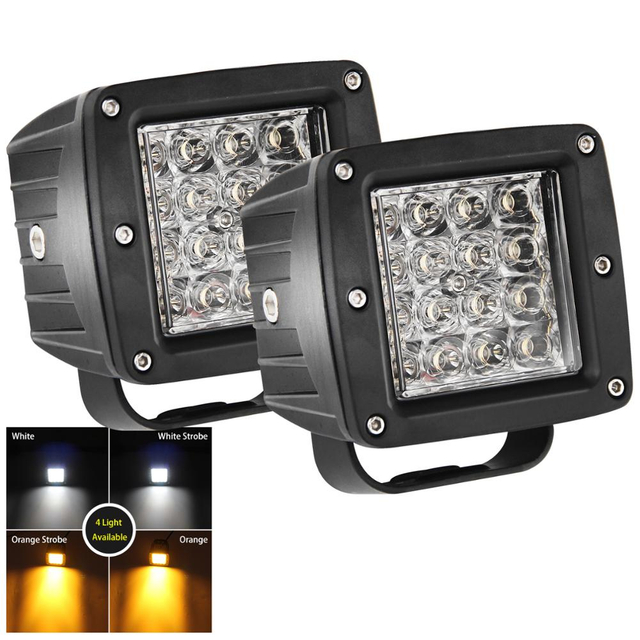 Two-color burst flash 3 inch square led work light JG-995BS